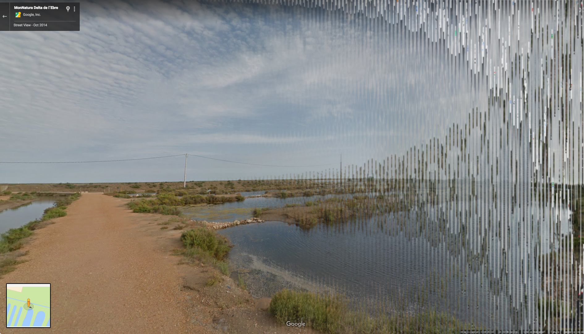 A distorted screen shot of a Google Street View showing a road in the Ebro delta